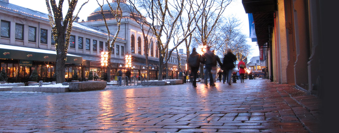 Faneuil Hall sidewalk in the winter